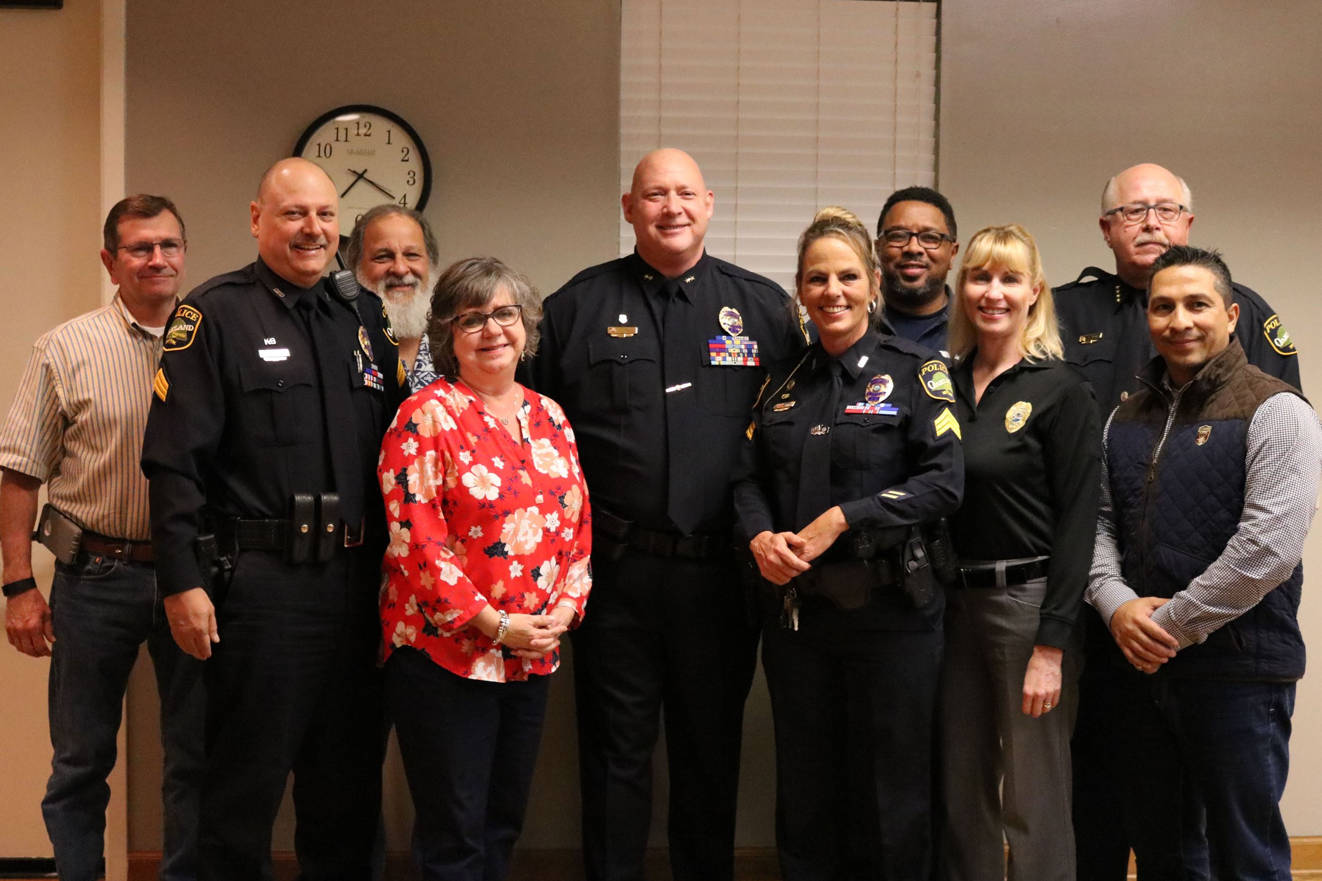 During a Town Commission Meeting, on January 9, 2018, Chief Thomas announced the promotion of four members of the Oakland Police Department.   Mayor Stark was joined by the rest of the Town Commission in applauding the following progressions: