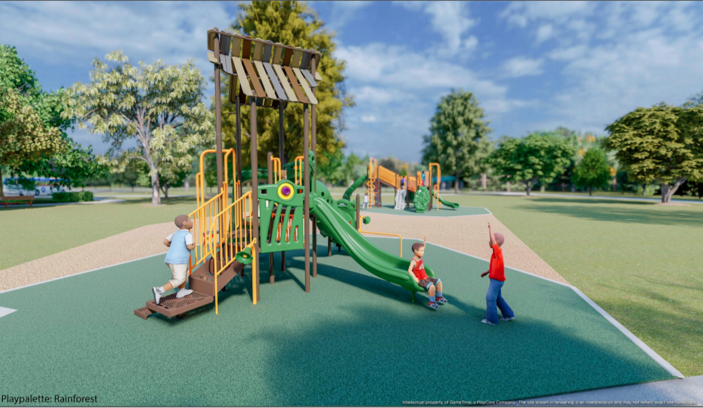 Rendering of a playground with children playing