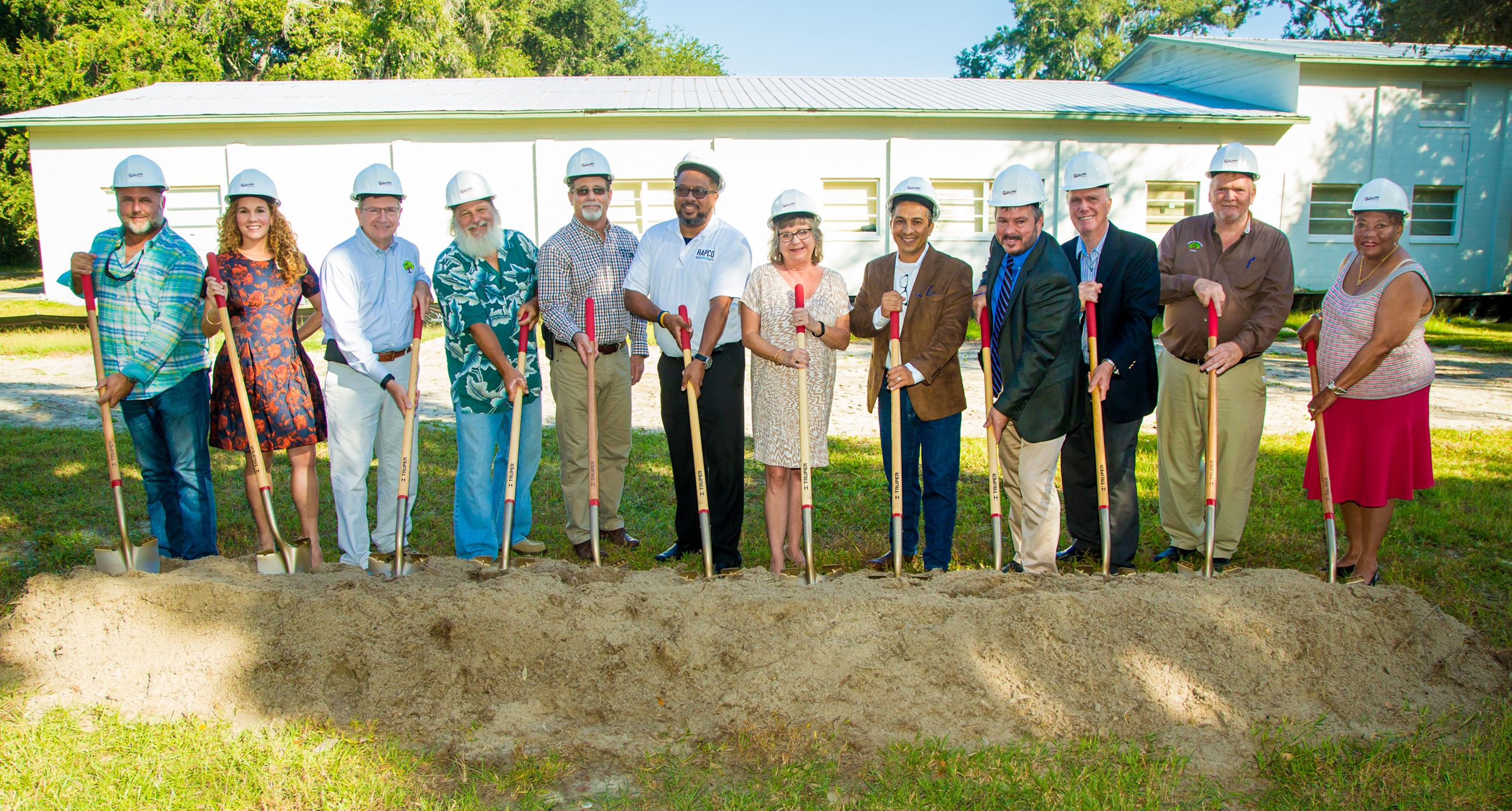 Local and State officials with shovels at The Arts and Heritage Center groundbreaking