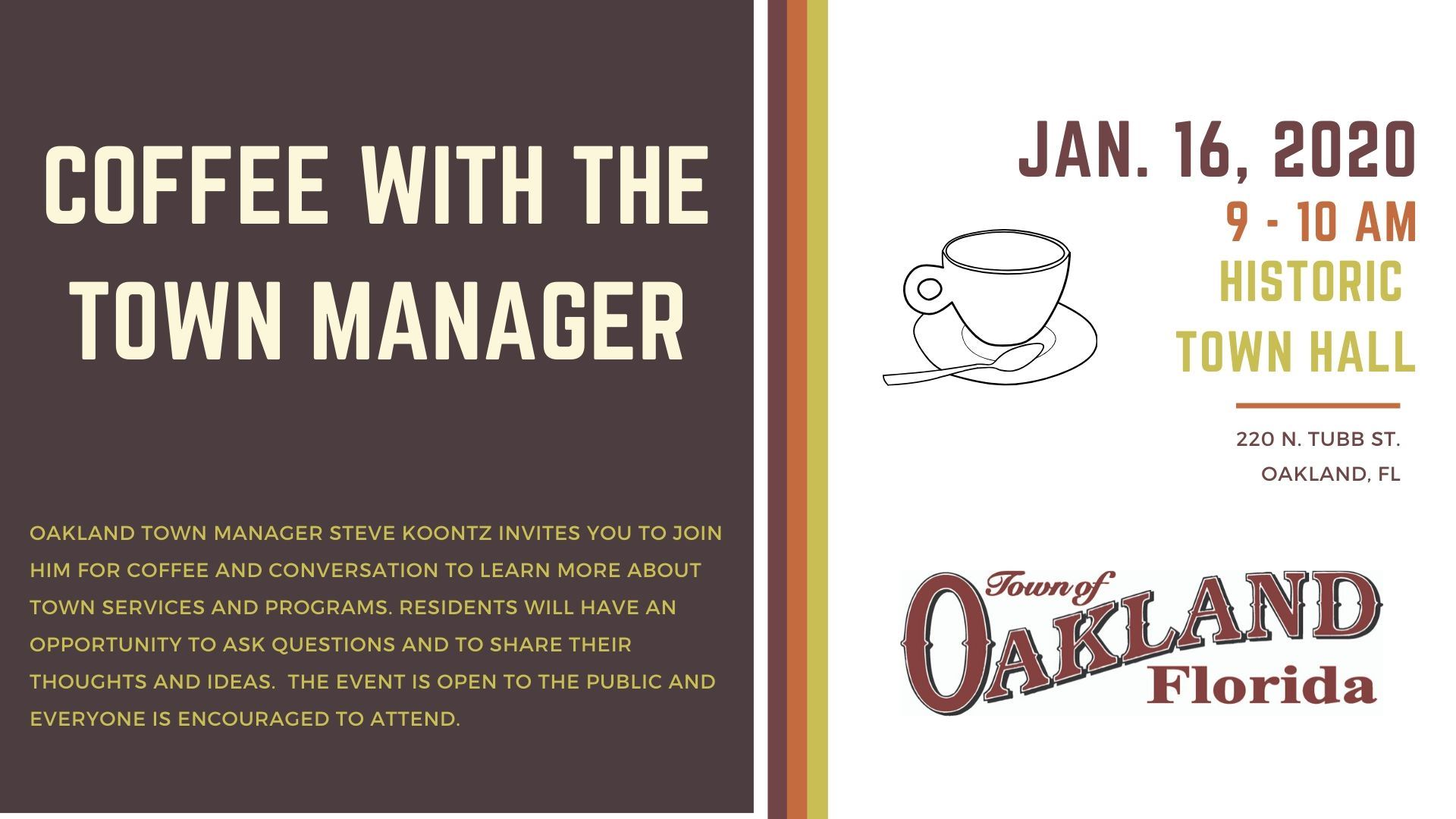 coffee with the town manager flier for January 16, 2020